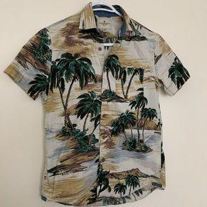 American Eagle Men Hawaiian Palm Tree Print Shirt